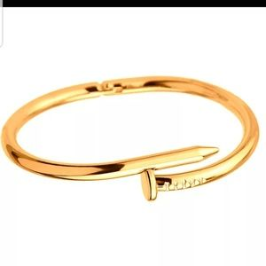 Other - Golden Stainless Steel Nail Bangle Cuff